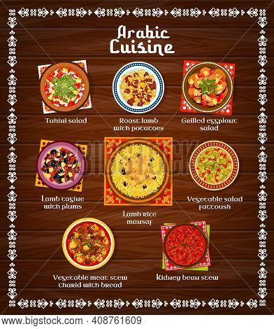 Arabic Food Restaurant Menu Template. Kidney Bean And Meat Stew Tharid With Bread, Grilled Eggplant,
