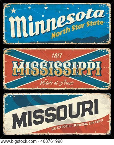 Mississippi, Minnesota And Missouri Vintage Signs With Vector Usa State Symbols Of American Travel A
