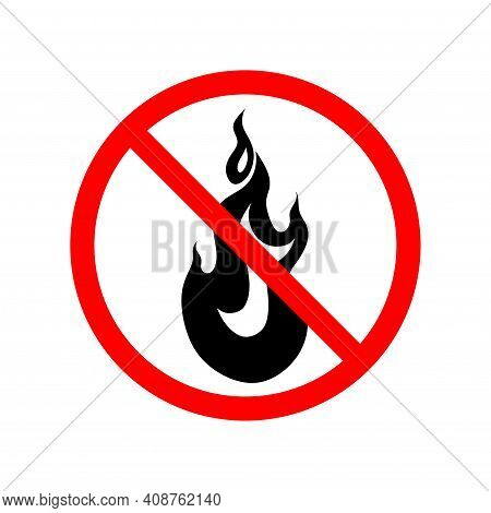 A Crossed-out Flame In A Circle, A Sign Forbidding The Lighting Of Fires And Bonfires, Is Flammable.