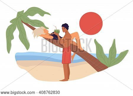 Couple Relaxing By Seaside, Man Giving Cocktail