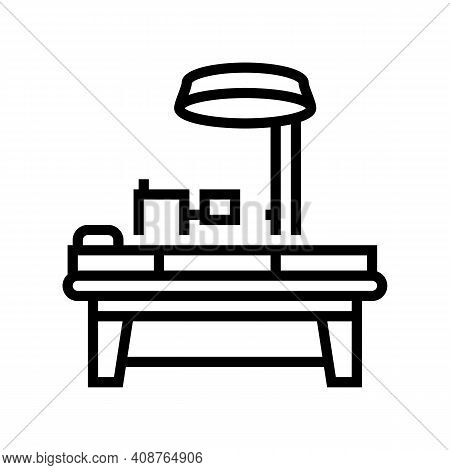 Operating Table Line Icon Vector. Operating Table Sign. Isolated Contour Symbol Black Illustration