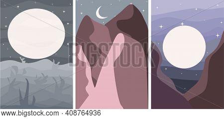 Poster Minimalism Night Mountain And Desert Moon