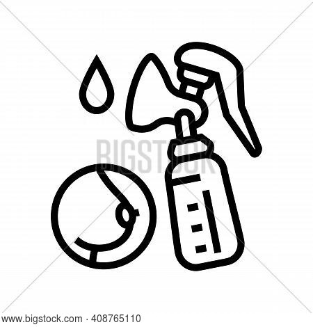 Pumpking Milk With Breast Pump Line Icon Vector. Pumpking Milk With Breast Pump Sign. Isolated Conto