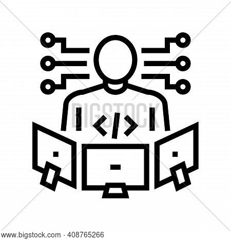 Technical Expert Line Icon Vector. Technical Expert Sign. Isolated Contour Symbol Black Illustration