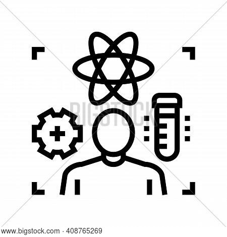 Science Expert Line Icon Vector. Science Expert Sign. Isolated Contour Symbol Black Illustration