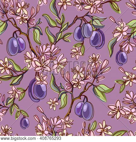 Seamless Pattern With Ripe Plums, Green Branches, Leaves And Spring Flowering. Herbarium On A Pink B