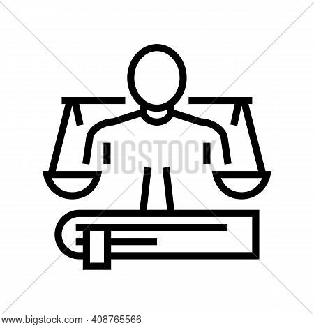 Lawyer Expert Line Icon Vector. Lawyer Expert Sign. Isolated Contour Symbol Black Illustration