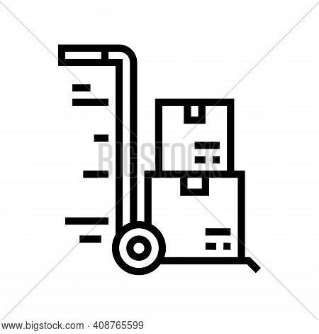 Warehouse Cart Parcels Free Shipping Line Icon Vector. Warehouse Cart Parcels Free Shipping Sign. Is