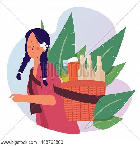 Herbalist Carrying Basket Bottles With Cartoon Flat Style