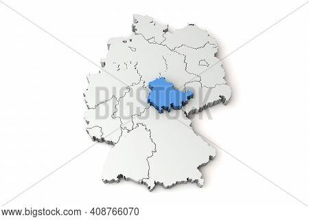Map Of Germany Showing Thuringia Region. 3d Rendering