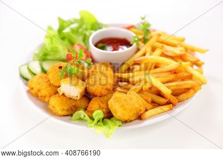 fried chicken, french fries and ketchup isolated on white background