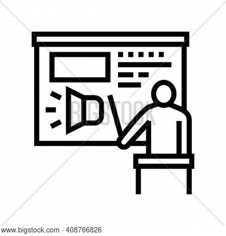 Presentation Pr Line Icon Vector. Presentation Pr Sign. Isolated Contour Symbol Black Illustration