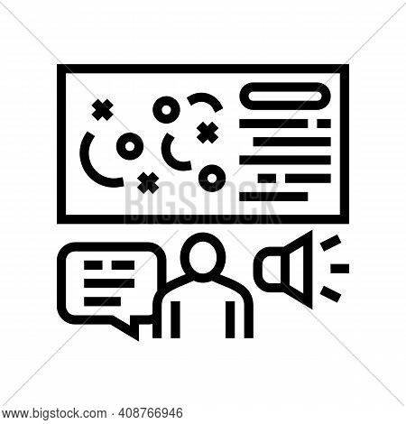Pr Strategy Line Icon Vector. Pr Strategy Sign. Isolated Contour Symbol Black Illustration