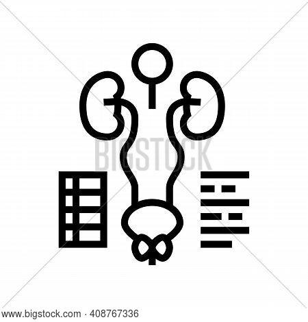 Examining Genitourinary System Line Icon Vector. Examining Genitourinary System Sign. Isolated Conto