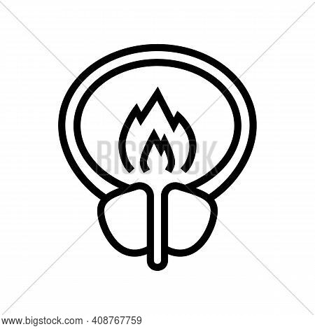 Burning Pain Bladder Line Icon Vector. Burning Pain Bladder Sign. Isolated Contour Symbol Black Illu