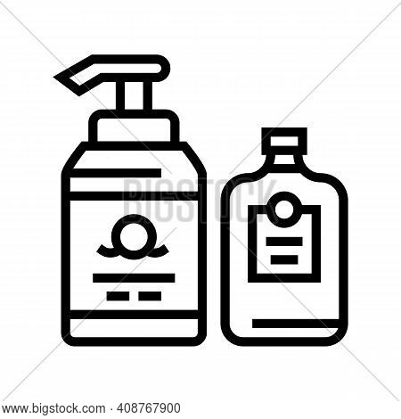 Soap And Lotion Containers Line Icon Vector. Soap And Lotion Containers Sign. Isolated Contour Symbo
