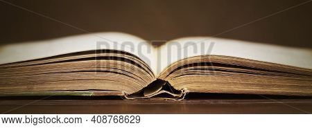 Open Vintage Old Book. Web Banner, Library Concept.