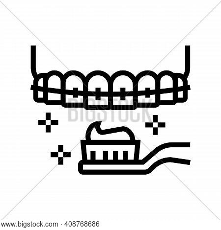 Care And Cleaning Tooth Braces Line Icon Vector. Care And Cleaning Tooth Braces Sign. Isolated Conto