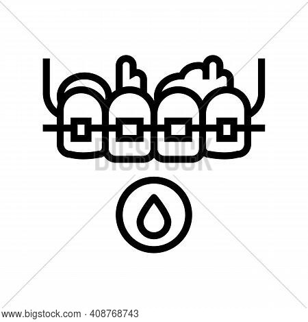 Blood From Tooth Braces Line Icon Vector. Blood From Tooth Braces Sign. Isolated Contour Symbol Blac