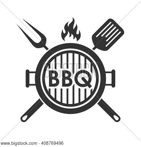 Grill Or Bbq Menu Graphic Design Template. Symbol Isolated On White Background. Vector Illustration