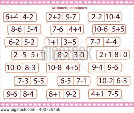 Math Game For Children. Arithmetic Dominoes. Number And Count To 10. Solve The Examples And Find The