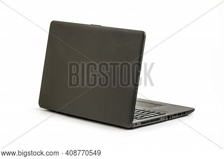 Laptop Isolated On White Background - Back View With Clipping Path