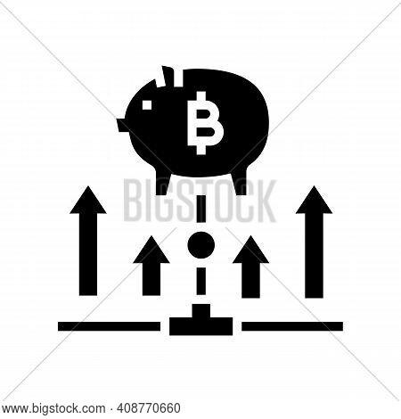 Fundraising Digital Coin Ico Glyph Icon Vector. Fundraising Digital Coin Ico Sign. Isolated Contour