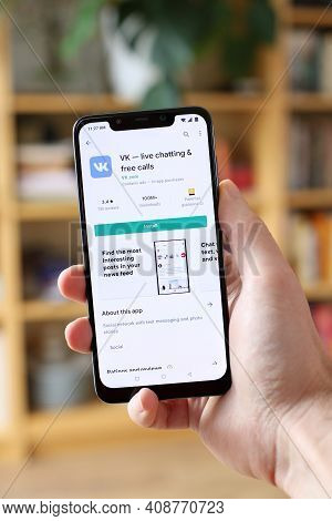 Warsaw, Poland - January 29, 2021: User Installing Vk (vkontakte) Live Chatting And Teleconferencing