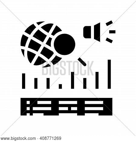 News Coverage Analysis Glyph Icon Vector. News Coverage Analysis Sign. Isolated Contour Symbol Black