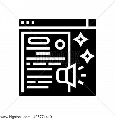 Distributing Press Release Glyph Icon Vector. Distributing Press Release Sign. Isolated Contour Symb