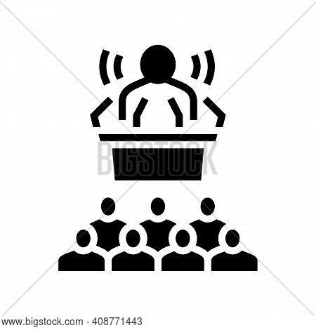 Press Release Glyph Icon Vector. Press Release Sign. Isolated Contour Symbol Black Illustration