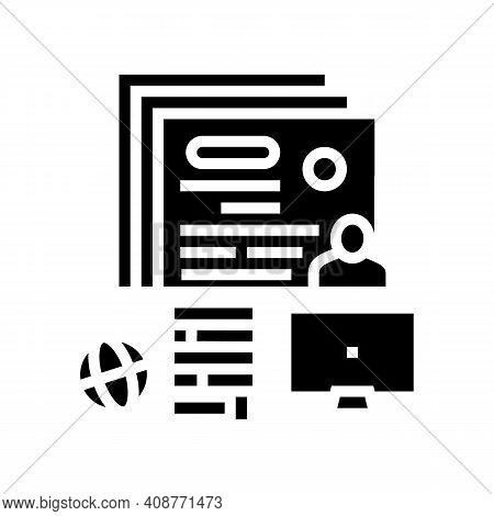 Writing Press Release Glyph Icon Vector. Writing Press Release Sign. Isolated Contour Symbol Black I
