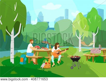 Vector Illustration Of Couple Having Picnic In Park. Woman Playing Guitar, Man Cutting Watermelon. C