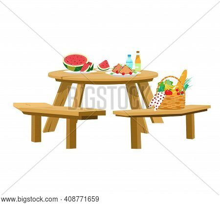 Vector Illustration Of Served Picnic Table Isolated On White. Picnic Basket, Watermelon With Slices,