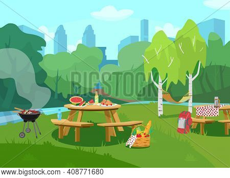 Vector Illustration Of Park Scene In City  With Tables With Food And Barbeque. Cityscape At The Back