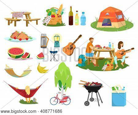 Big Vector Picnic Set. Plates With Food, Picnic Basket, Couple Having Picnic, Berbeque, Cooler Bag,