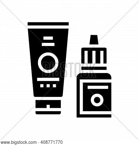 Serum And Cream Beauty Cosmetics Glyph Icon Vector. Serum And Cream Beauty Cosmetics Sign. Isolated