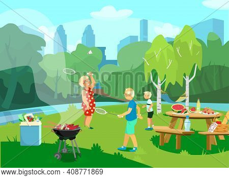 Vector Illustration Of The Park Csene With Grandparents And Grandchild Having Picnic And Barbecue In