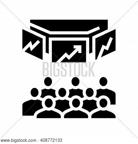 Trading On Stock Exchange Glyph Icon Vector. Trading On Stock Exchange Sign. Isolated Contour Symbol