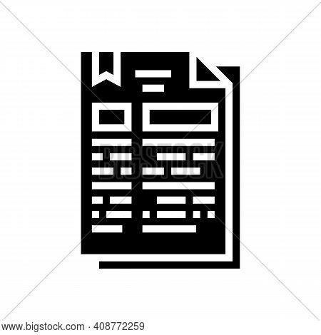 Protocol Document Glyph Icon Vector. Protocol Document Sign. Isolated Contour Symbol Black Illustrat