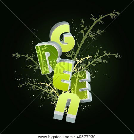 Ecology concept illustration on dark background with bamboo
