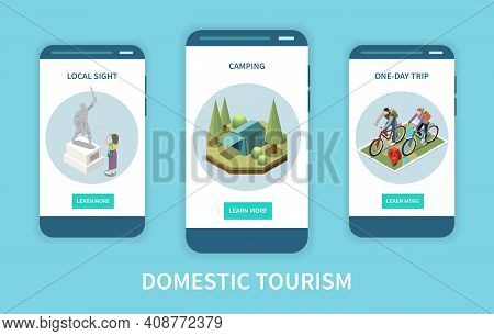 Domestic Tourism Vertical Isometric Banners Set With Local Sight Campsite And People Taking Bike Tri