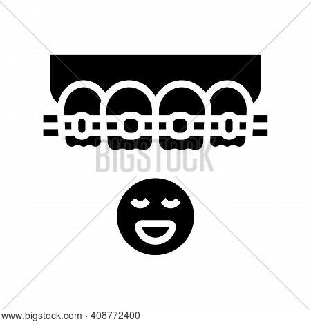 Child Tooth Braces Glyph Icon Vector. Child Tooth Braces Sign. Isolated Contour Symbol Black Illustr