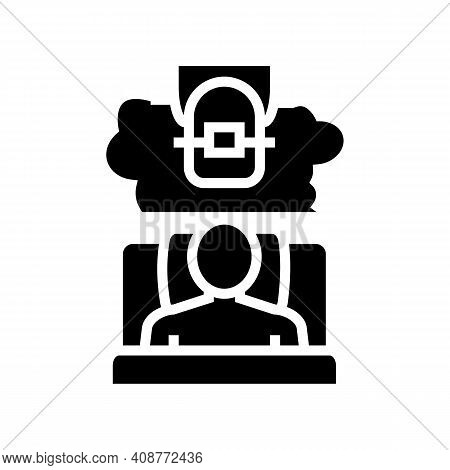 Insomnia Tooth Braces Glyph Icon Vector. Insomnia Tooth Braces Sign. Isolated Contour Symbol Black I