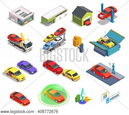 Car Ownership Usage Isometric Set Of Isolated Icons Buildings And Images Of Cars Of Different Color