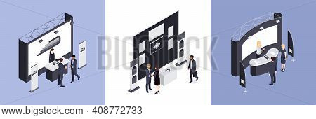 Exhibition Design Concept Set Of Three Square Compositions With Consultants Standing Near Promotiona
