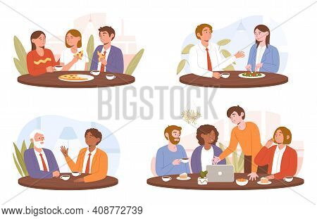 Collection Of Diverse Multiracial Happy Colleagues Eating Together. Business Team Informal Meeting A