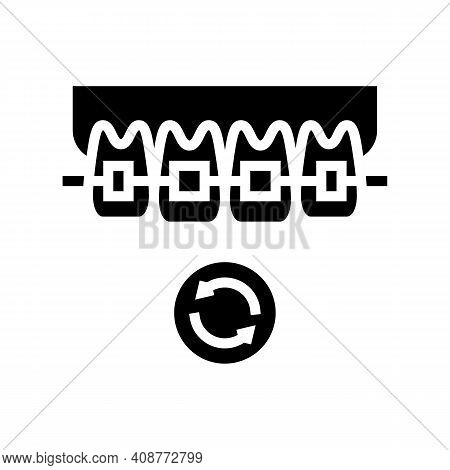 Lingual Tooth Braces Glyph Icon Vector. Lingual Tooth Braces Sign. Isolated Contour Symbol Black Ill