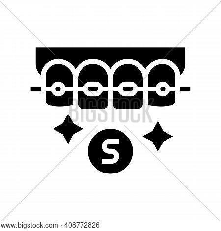 Sapphire Material Tooth Braces Glyph Icon Vector. Sapphire Material Tooth Braces Sign. Isolated Cont
