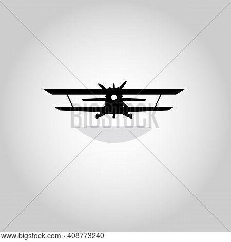 Biplane. Retro Airplane Illustration. Vintage Plane Front View. Isolated Vector Illustration. Plane